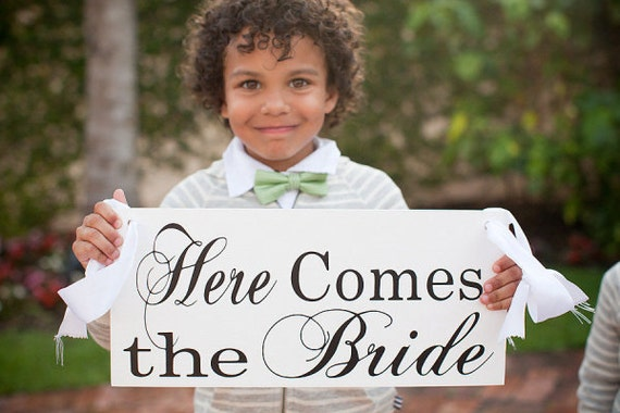 Here Comes the Bride and/or And they lived Happily ever after, 8 X 16 inches. Featured in SMP.  Sign or Ring Bearer, Flower Girl.