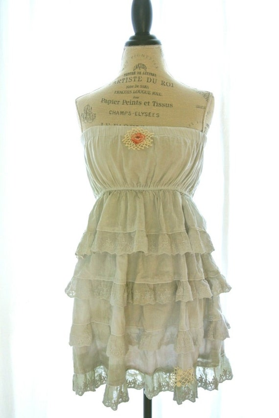 Vintage country ruffle dress, rustic farm girl sundress, cottage chic, romantic womens clothing, upcycled, true rebel clothing