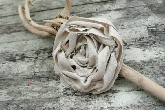 Linen tattered rose brooch, shabby linen pin, country chic rose, fall jewelry, cottage chic, true rebel clothing, autumn, fall