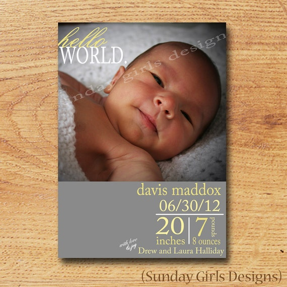 Birth Announcement-Printable Custom Card-Newborn Baby-Hello World