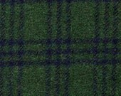 3853-  Felted 100 Percent  Woven Wool - Plaid - Blackwatch - Green and Navy - Large Size Wool
