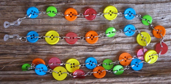 Colorful Rainbow BUTTON Eyeglass Chain Holder .. FREE S/H