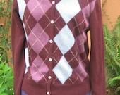 Vtg 80s Abercrombie & Fitch Burgundy ARGYLE Cardigan Sweater