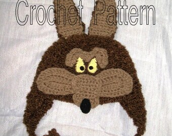 Little Coyote Hat Crochet Pattern PDF - INSTANT DOWNLOAD.