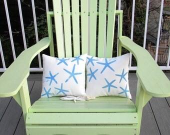 "LITTLE SEA STARS starfish pair of indoor outdoor pillows 12""x12"" set of two coastal beach children's ocean nautical Crabby Chris Original"