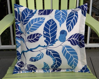 "Blue foliage leaves tree linen cotton pillow 20"" reminiscent of Josef Frank Scandinavian nature leaf tree branch interior"