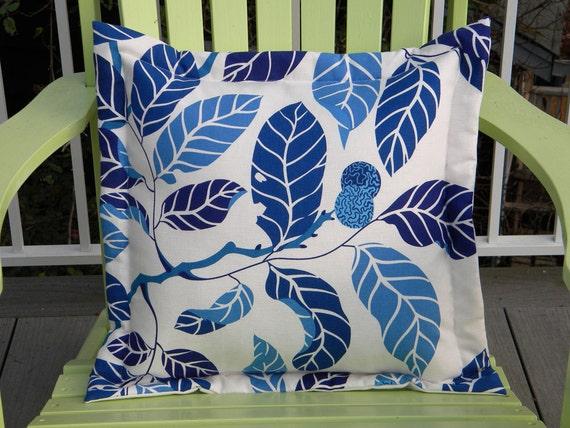 "Blue foliage leaves tree linen cotton pillow 20"" reminiscent of Josef Frank Scandinavian nature leaf tree branch interior"