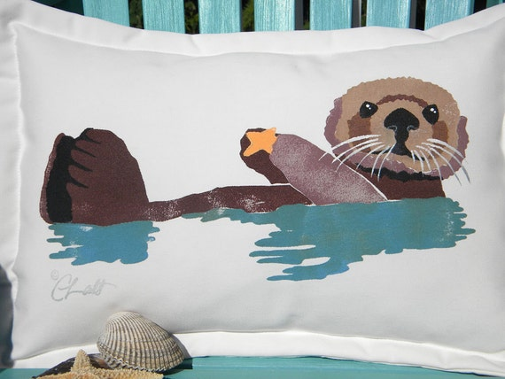 "Outdoor pillow SEA OTTER 15""x20"" (38X50cm) coastal saltwater ocean Ring of Bright Water endangered marine seashore Crabby Chris Original"
