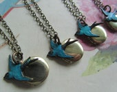 Small Vintage Locket with Blue Bird Necklace Round Locket Antique Chain Gift bridesmaid gift set of SIX (6) Necklace