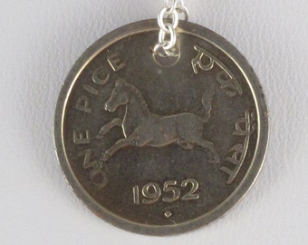 Galloping Horse - Repurposed Indian Pice Coin Necklace