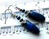 Winter Sky - Lapis Lazuli, Dark Blue, Sky, Night, Copper, Beaded, Earrings