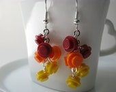 Fire Brick Cascade Earrings