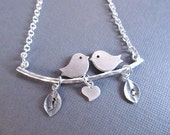 Mother's Day Gift, Love Birds Necklace, Silver  Birds on Branch with Heart and Initial Charms, Personalized Necklace, Engagement Gift