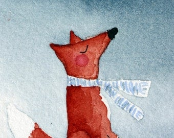 Silent Night - original watercolor, fox in scarf on snow hill, snowflake, winter, snowing, blue and white, small art