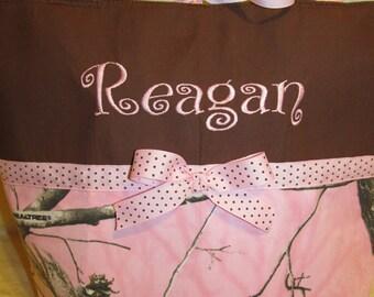 Realtree pink camo diaper bag pink realtree diaper bag - tote bag - carry all - baby bag- toddler tote - bag - pink bag you choose name