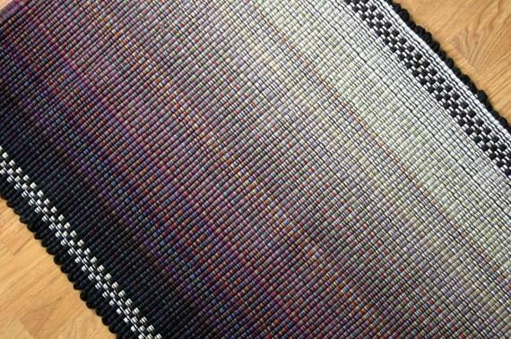 Ombre Cotton Rag Rug Kitchen Rug In Black White Gray