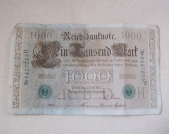 Germany 1910 1000 Mark Banknote Old Money