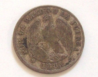 Condor 1881 Chile 20 Cents Silver Coin
