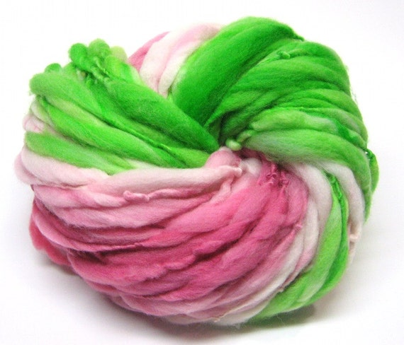 Super bulky self striping yarn in thick and thin merino wool - 53 yards, 3.0 ounces/ 86 grams
