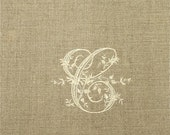 Monogrammed Oatmeal Natural Linen Guest Towels