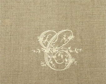 Monogrammed Oatmeal Natural Linen Guest Towels in the Stacy Font