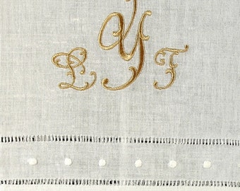Two Monogrammed Guest Towels