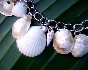Sale! Seashell Charm Bracelet Dangle Hanging White Cream Neutral Bridal Bride Wedding Organic Natural Sass & Wiggle Etsy