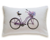Bicycle Pillow Cover 12x18 inch White Cotton PRINT DESIGN 24