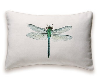 Dragonfly Pillow Cover 12x18 inch White Cotton PRINT DESIGN 42