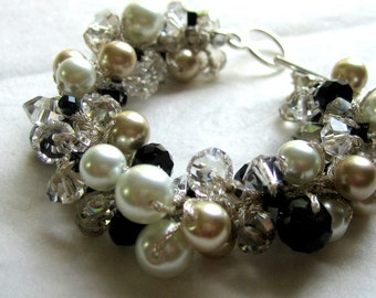 BLACK TIE AFFAIR Pearl Crystal Bracelet, Champagne, Smokey Quartz, Black Soft White Pearl, Hand Knit  Spiral Twist, Elegant Wedding
