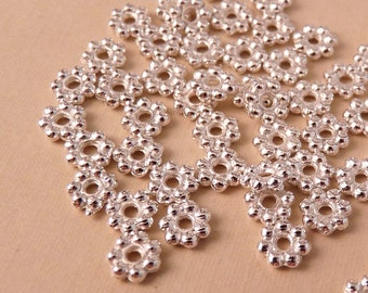 Silver Spacers 50 Silver Daisy Spacers Silver Beads 5mm Silver Spacer Silver Findings