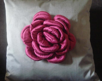 Be a Rose/Personalization/Pink Rose on a  Grey Cushion in Size 16x16 inches