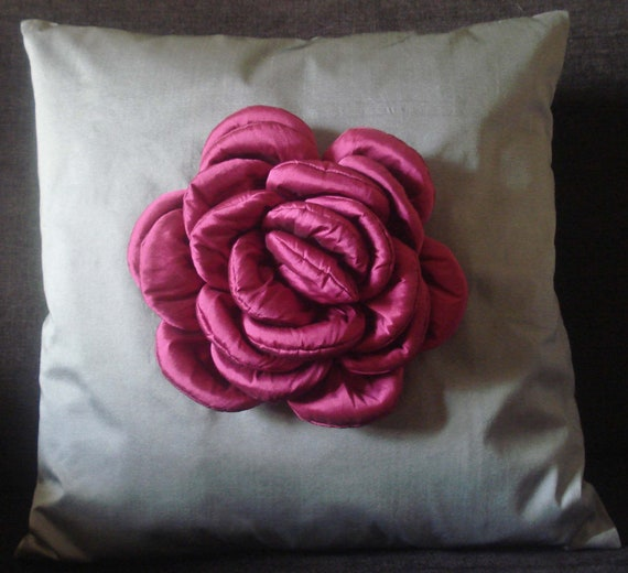 """pink rose on a  grey cushion in size 20""""x20"""""""