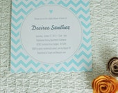 CHEVRON - customized printable square baby shower invitation, blue green pink yellow