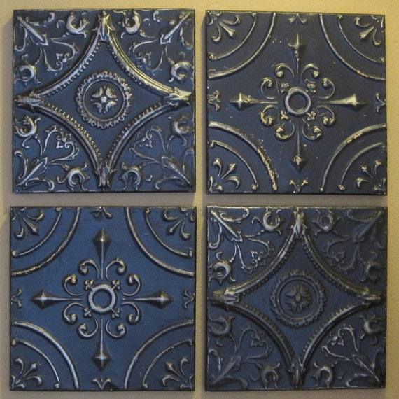 """ALL 4 Antique Ceiling Tin Tiles. Circa 1900. Each tile measures 11 1/2"""" Square. FRAMED and ready to hang."""