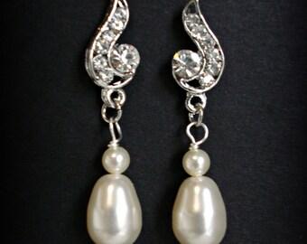 Bridal earrings, Rhinestone post it, Swarovski ivory or white pearls, Teardrop, Wedding earrings, Bridal, Bridesmaid gift