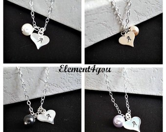 Custom hand stamped sterling silver initial charm necklace Heart charm Personalized bridesmaid gift Single pearl Wedding jewelry