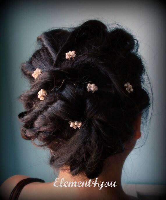 Bridal hair pins, Swarovski pearls crystals, gold wire pins clip, Wedding hair piece, Bridal head piece, Bridal party gift, Flower girl hair