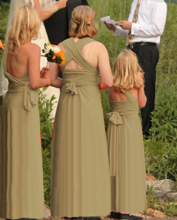 RESERVED for Ashlyn -- 1 Long Full Free-Style Junior Bridesmaids Dress in chino