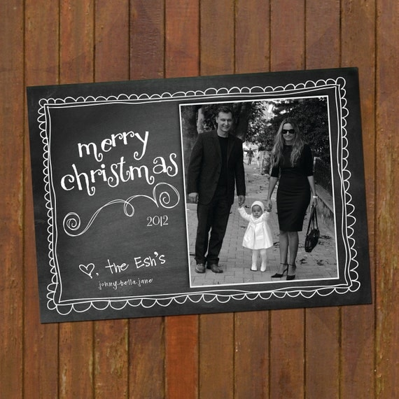 Items similar to chalkboard christmas cards doodled merry christmas on etsy for Chalkboard christmas cards