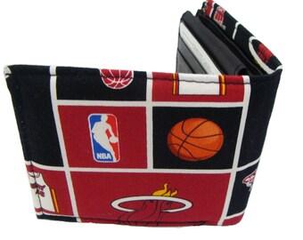 "Bi-Fold Men Wallet ""MIAMI HEAT"" NBA Sport Basketball Pattern, Cotton Fabric, New , Rare"