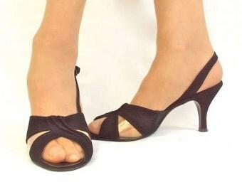 Designer High Heels Black Stiletto Suede Slingback Vintage