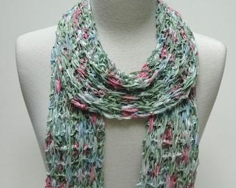 Cotton Scarf- Hand Knit- Sea Green/Rose/ Mauve/ Ice Blue