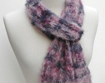 Mohair and Wool Scarf- Hand Knit/ Rose, Mauve, Gray, Charcoal