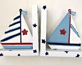 stars and stripes sail boat bookends,nautical theme,kids bookends,boys bookends,childrens bookends,sailboat bookends,personalized book ends