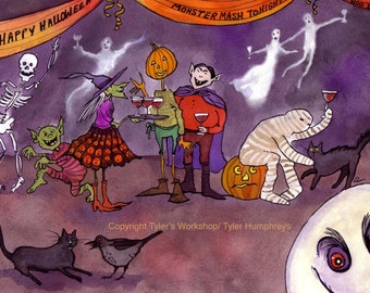 Halloween Card, Halloween Greeting Card, Handmade Card, Funny Halloween Card, Witch Ghosts Vampires Mummy Halloween Card 'Monster Mash'