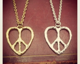 Peace & Love Long Chain Pendant
