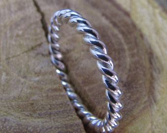 Twisted Argentium Sterling Silver Stacker Ring