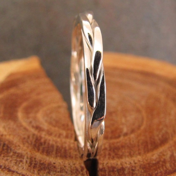 Square Braided Silver Stacking Ring