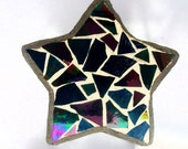 Mosaic Jewelry Box, Iridescent Star Box, Wishes, Magical, Home Decor, Silver, Fairies, Sweet Dreams, Hostess Gift - 3-3/4 x 1-1/2 inches